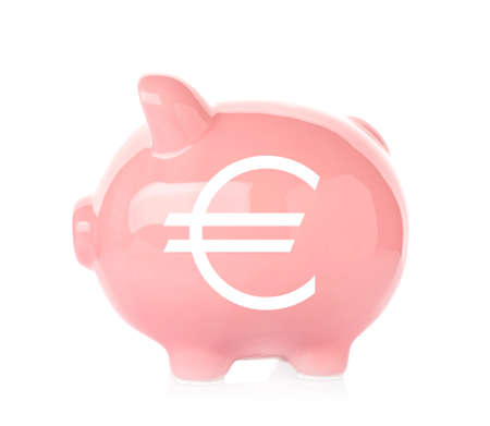 Piggy Bank With Symbol Of Euro Currency On White Background Stock