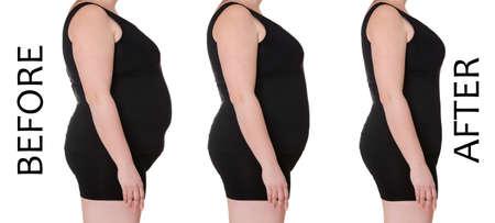 Weiblicher Körper vor und nach dem Abnehmen auf weißem Hintergrund. Gesundheits- und Diätkonzept% 00