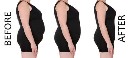 Female body before and after weightloss on white background. Health care and diet concept
