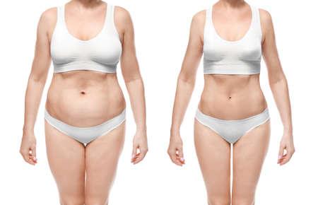Młoda kobieta przed i po odchudzaniu na białym tle