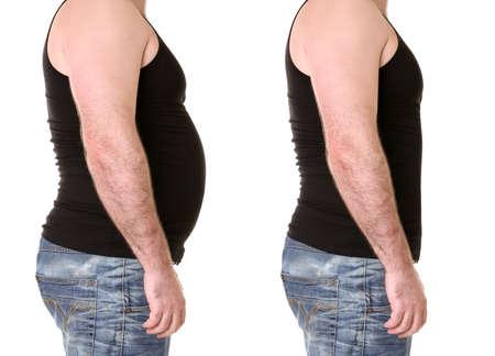Corps masculin avant et après le poids sur fond blanc. concept de soins de santé et de régime alimentaire Banque d'images - 92042723