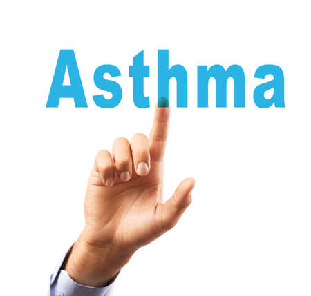 Health care concept. Doctor pointing on word ASTHMA, white background