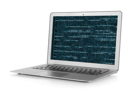 Laptop and programming script on screen, white background. Modern technology concept Stock Photo