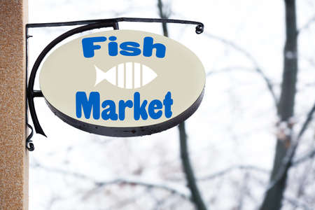 Signboard of fish market outdoor Stock Photo