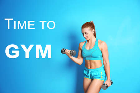 Fitness quotes. Text TIME TO GYM and young woman training with dumbbells on color background
