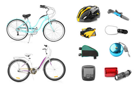 Bicycles with parts and accessories on white background