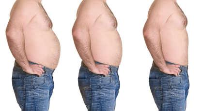흰색 배경에 weightloss 전후 남성 본문입니다. 건강 관리 및 다이어트 개념 스톡 콘텐츠