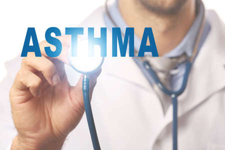 Health care concept. Doctor with stethoscope and word ASTHMA, closeup Stock Photo
