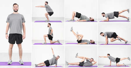 Collage of young man doing different exercises on light wall background. Legs workout tutorial