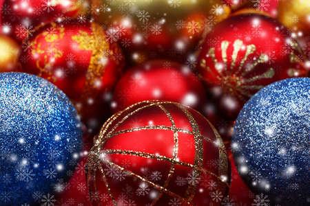 Beautiful Christmas toys, closeup. Snow effect Stock Photo