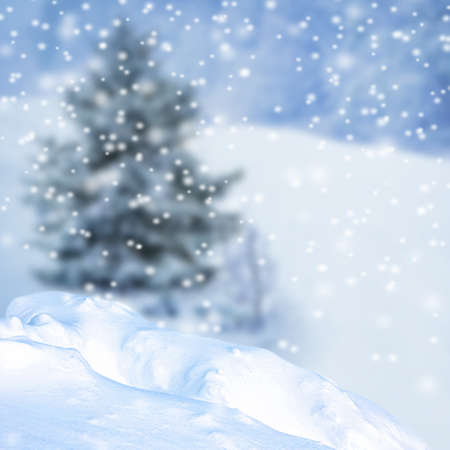 Snowdrift and blurred winter landscape on background