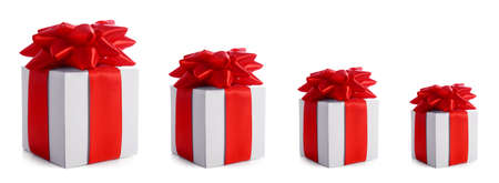 Christmas gift boxes for family on white background