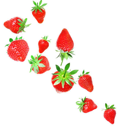Set of delicious strawberry on white background Stock Photo