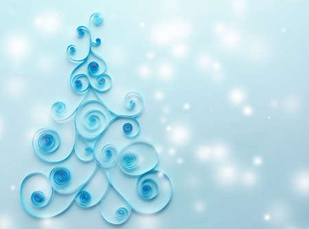 Paper Christmas tree with snow effect on blue background Stock Photo - 92105254