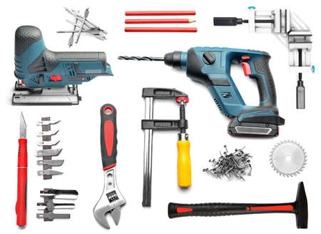 Set of carpenter's tool on white background