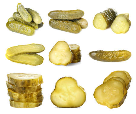 Collage of pickled cucumbers on white background Stock Photo