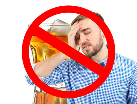 Collage of alcohol drink in glass, young man with headache and STOP sign on white background
