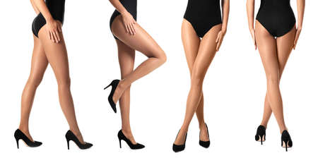 Collage of sexy female legs in tights and high heels on white background