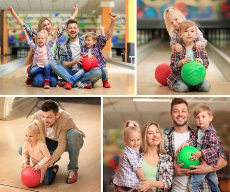 Collage of happy family at bowling club