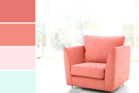 Comfortable armchair in light room and palette with salmon color Stock fotó