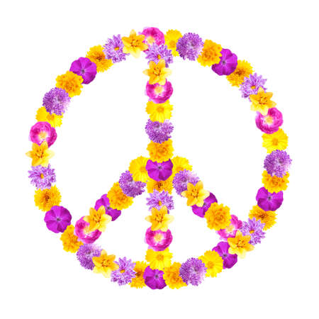 Peace symbol of beautiful flowers on white background Stock Photo