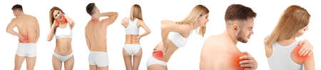 Collage avec des personnes souffrant de douleurs dans différentes parties du corps sur fond blanc. Concept orthopédiste et soins de santé Banque d'images