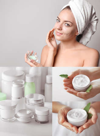 Collage for anti acne mask theme. Skin care concept Stock Photo
