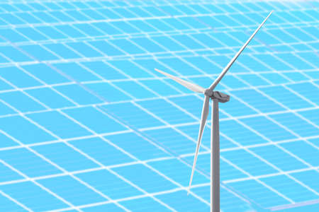 Wind turbine and solar panels on background. Concept of eco friendly thechnologies Stock Photo