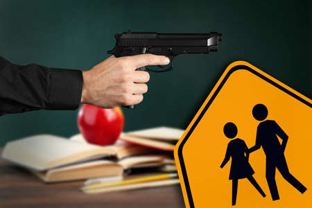 Children crossing sign and man with gun in classroom. School shooting concept
