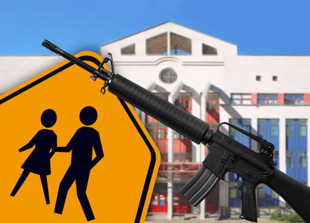 Children crossing sign with rifle and building on background. School shooting concept Фото со стока