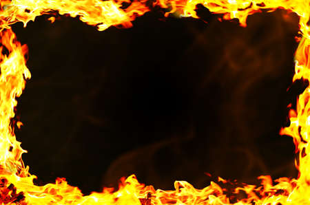 Frame of fire on black background