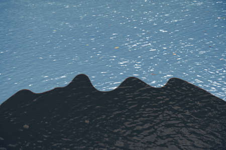 Oil spill on water surface. Concept of ecological disaster Stock Photo