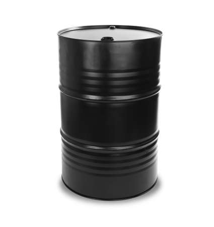 Black oil barrel on white background Stok Fotoğraf