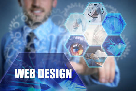 Concept of web design and modern technology. Young man working with virtual screen