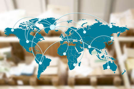 World map with logistic network and cardboard boxes on background
