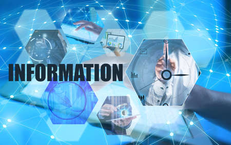 Concept of information technology. People and gadgets connected with global internet network