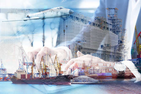 Double exposure of businessman with laptop and seaport. Wholesale and logistic concept