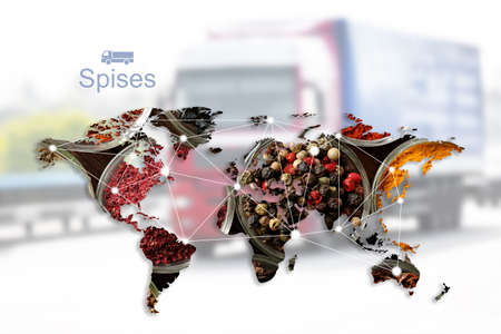 World map of different spices and truck on background. Logistic and wholesale concept