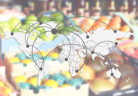 World map with logistic network and fruits on background