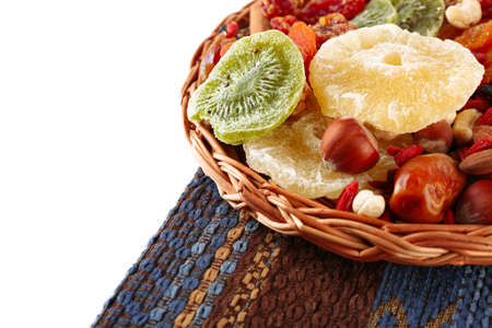 Assortment of dried fruits, isolated on white