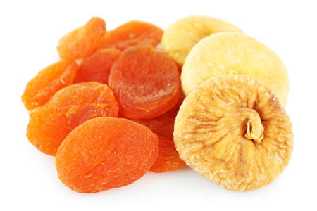 Assortment of dried fruits isolated on white