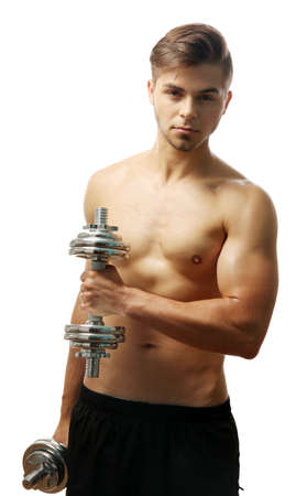 Muscle young man holding dumbbells isolated on white