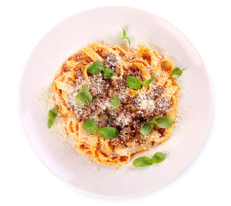 Pasta Bolognese with parmesan and basil isolated on white Stock Photo