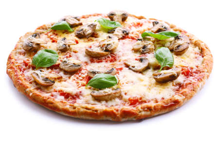 Tasty pizza with vegetables and basil isolated on white