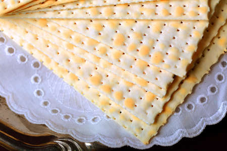 Matzo for Passover on table  close up Stock Photo