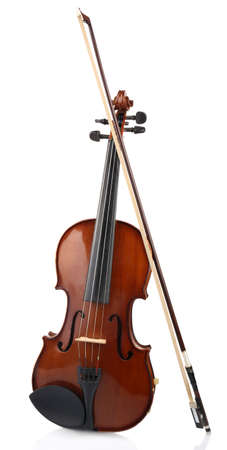 Classical violin with bow isolated on white Standard-Bild