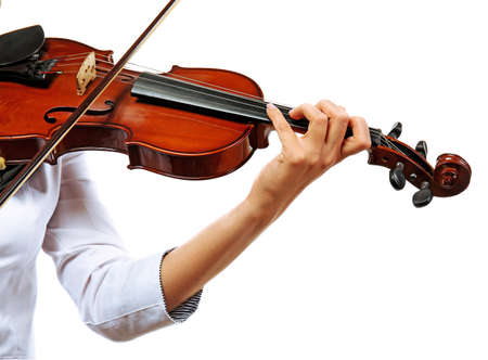 Violinist playing violin isolated on white Stock Photo