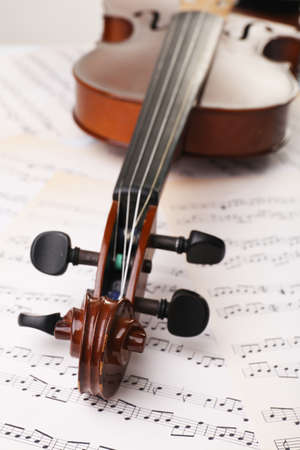 Classical violin on music sheets background Banco de Imagens