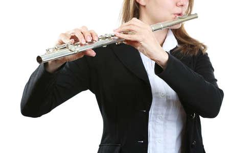 Musicien jouant de la flûte isolé sur blanc Banque d'images