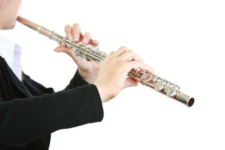 Musician playing flute isolated on white Stock Photo